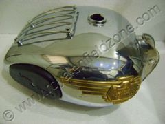 FULL CHROME P.TANK WITH GRILL, KNEE PADS AND BRASS MONOGRAMS(25 LITRES)