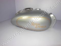 FUEL TANK 22 L IN SILVER WITH CHROME GRILL AND HAND PAINT LINING