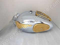 CHROME FUEL TANK 22 L WITH BRASS MONO GRILL AND TANK PAD